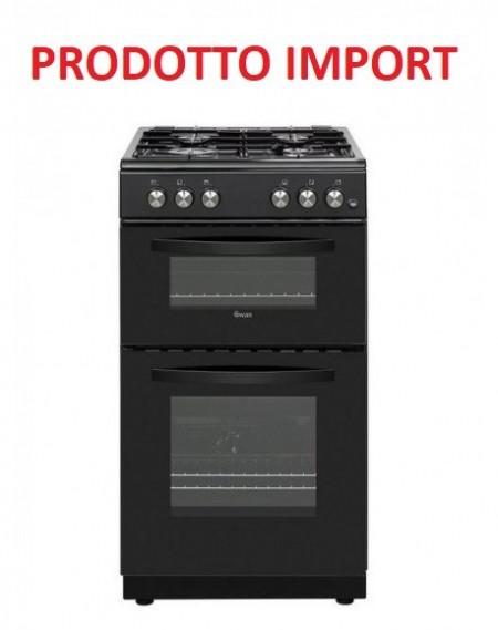 Cucina a Gas SWAN 4 Fuochi a Gas Forno a gas Dimensioni 60 x 60 cm Classe A+ Colore Nero cod: SX15871B